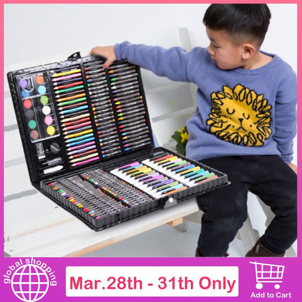 168pcs Drawing Pen Art Set Kit Painting Sketching Color Pencils Crayon Oil Pastel Water Color Glue With Case For Children Kids Aesthetic Appearance Drawing Toys
