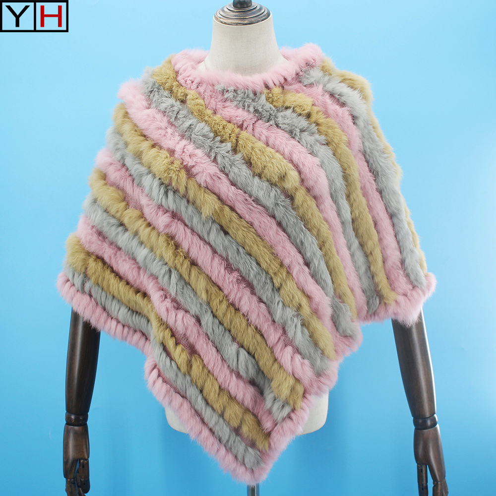 Free shipping Women Genuine Real Knitted Rabbit Fur Poncho Wrap scarves women natural rabbit fur Shawl triangle Cape