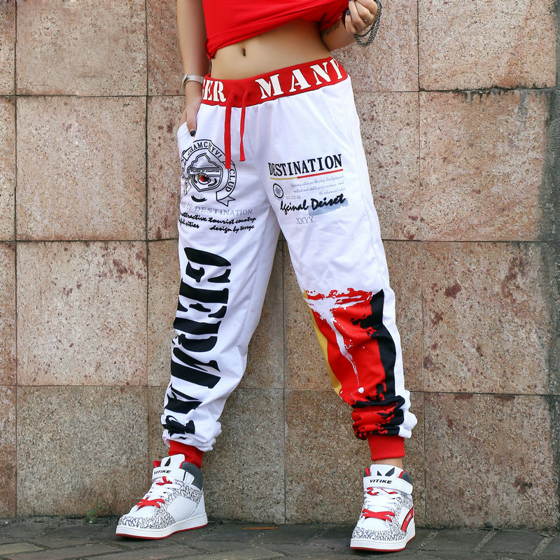 New Pattern Fashion Doodle Easy Leisure Time Pants Suit-dress Hiphop Jazz Practice Show Clothing Dance Haren Pants