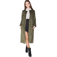 Women Single Breasted Apparel Autumn Green Trench Female Tassel Slim Longline Co