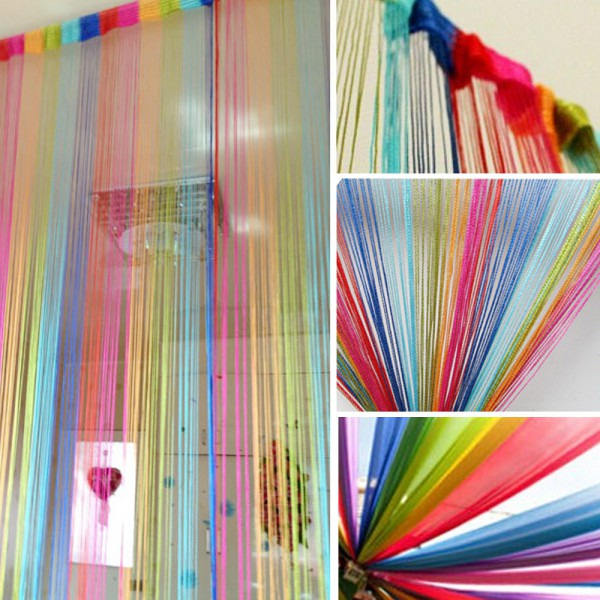2M*1M Vogue Hot Curtain for Door Window Panel Living Room Divider Curtain String Line Decorative Curtain 6 Colors