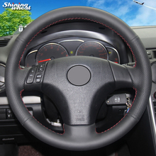 Shining wheat Genuine  Leather Car Steering Wheel Cover for Mazda 3 Axela 2003-2009 Mazda 5 2004-2010 Mazda 6 Atenza 2004-2008