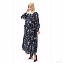 Muslim women Long sleeve Dress maxi long dress islamic clothing Moroccan kaftan elegant embroidery ethnic vintage denim