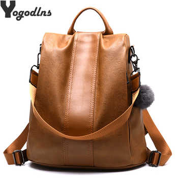 Quality Leather Anti-thief Women Backpack Large Capacity Hair Ball School Bag for Teenager girls Male Travel Bags - DISCOUNT ITEM  68% OFF All Category