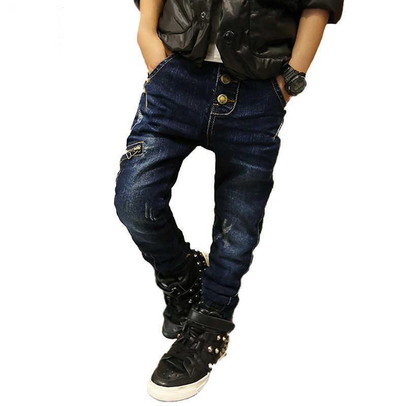 43141a68 HE Hello Enjoy/теплые джинсы для детей, Осень-зима, детские джинсовые брюки