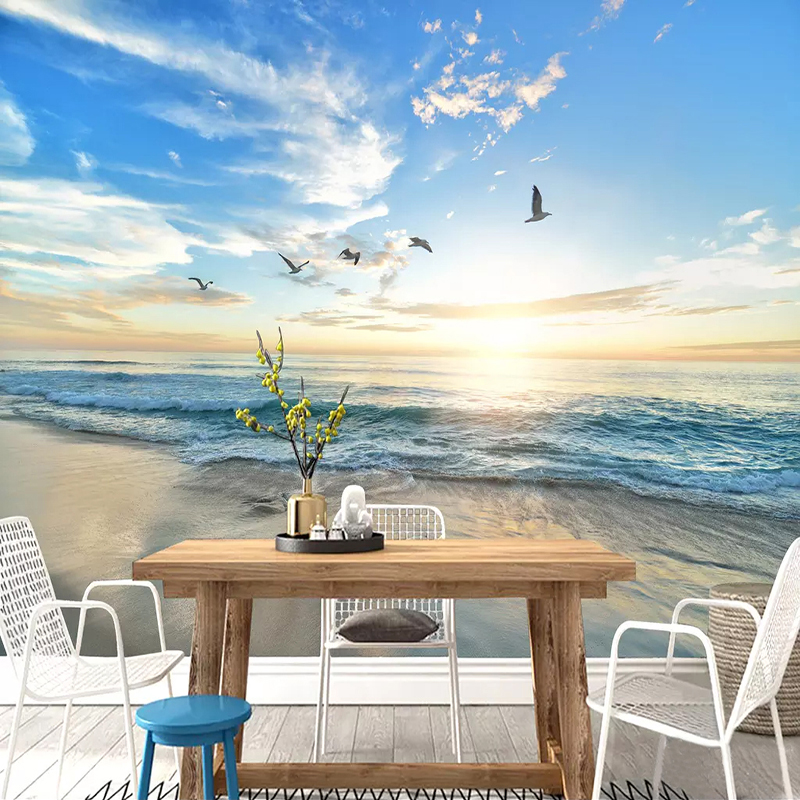 Custom Waterproof Wallpaper Murals 3D Seagull Blue Sky Sea Sandy Beach Mural DIY Self-adhesive Photo Wallpapers For Living Room