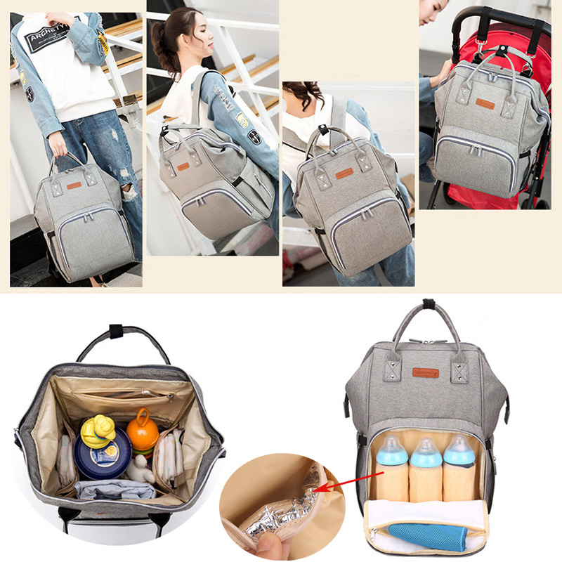 Sac à langer sac à dos Interface USB sac à couches grande capacité imperméable momie sac de maternité pour poussette produit de soin de bébé - 5