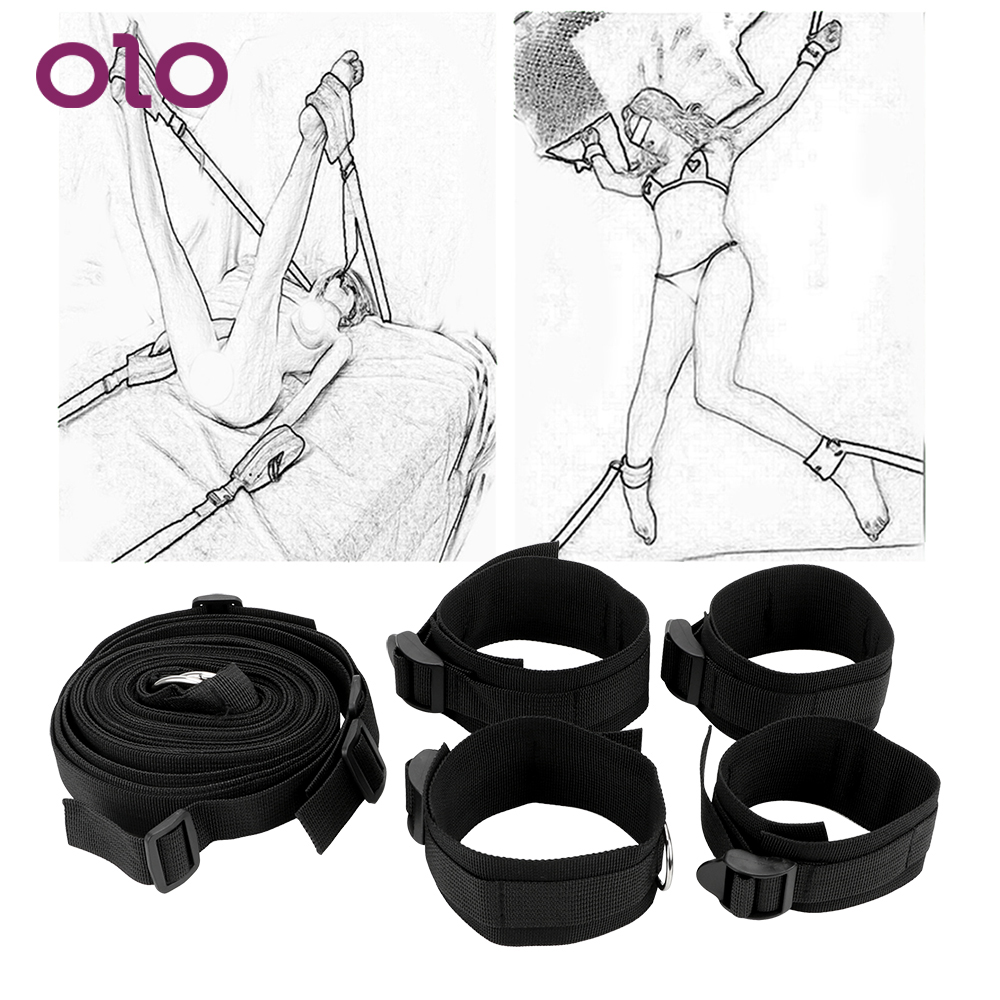 OLO Sex Toys For Couple Sex Handcuffs SM Bondage  Sexy Hot Erotic Costumes Sexy Lingerie Set  Adult Restraints Bed Mattress