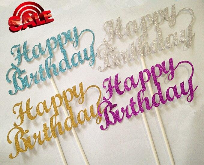 """4PCS / LOT Gilsten """"생일 축하합니다""""케이크 토퍼는 생일 파티 장식 레이저 컷을 위해 추천합니다"""