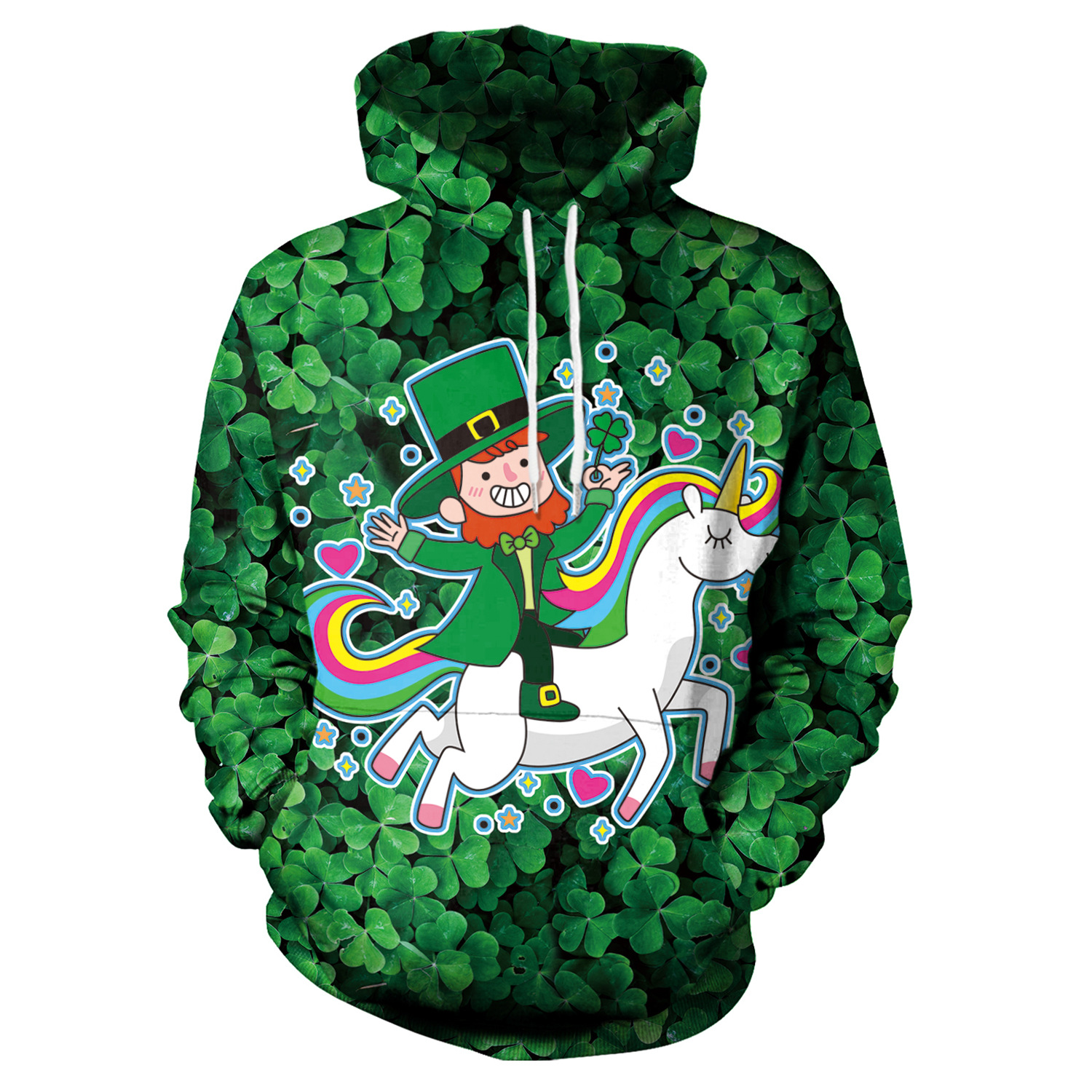 St Patrick's Day Green Hat Unicorn Shamrocks Print Hoodies Men Hoodie with Hat Round Neck Loose Sweatshirt Pullover Streetwear