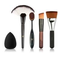 HUAMIANLI 5pcs Makeup Brush Set High Quality Soft Synthetic Hair And Nature BristlesProfessional Makeup Artist Brush
