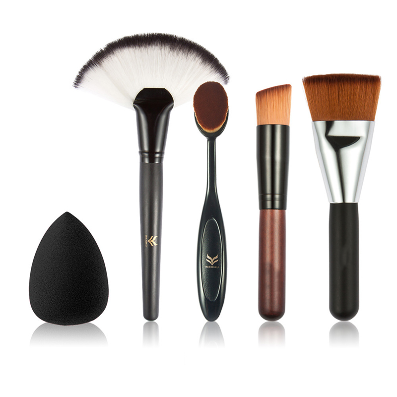 HUAMIANLI 5pcs Makeup brush set High Quality Soft Synthetic Hair and Nature BristlesProfessional Makeup Artist Brush Tool+Puff prasanta kumar hota and anil kumar singh synthetic photoresponsive systems