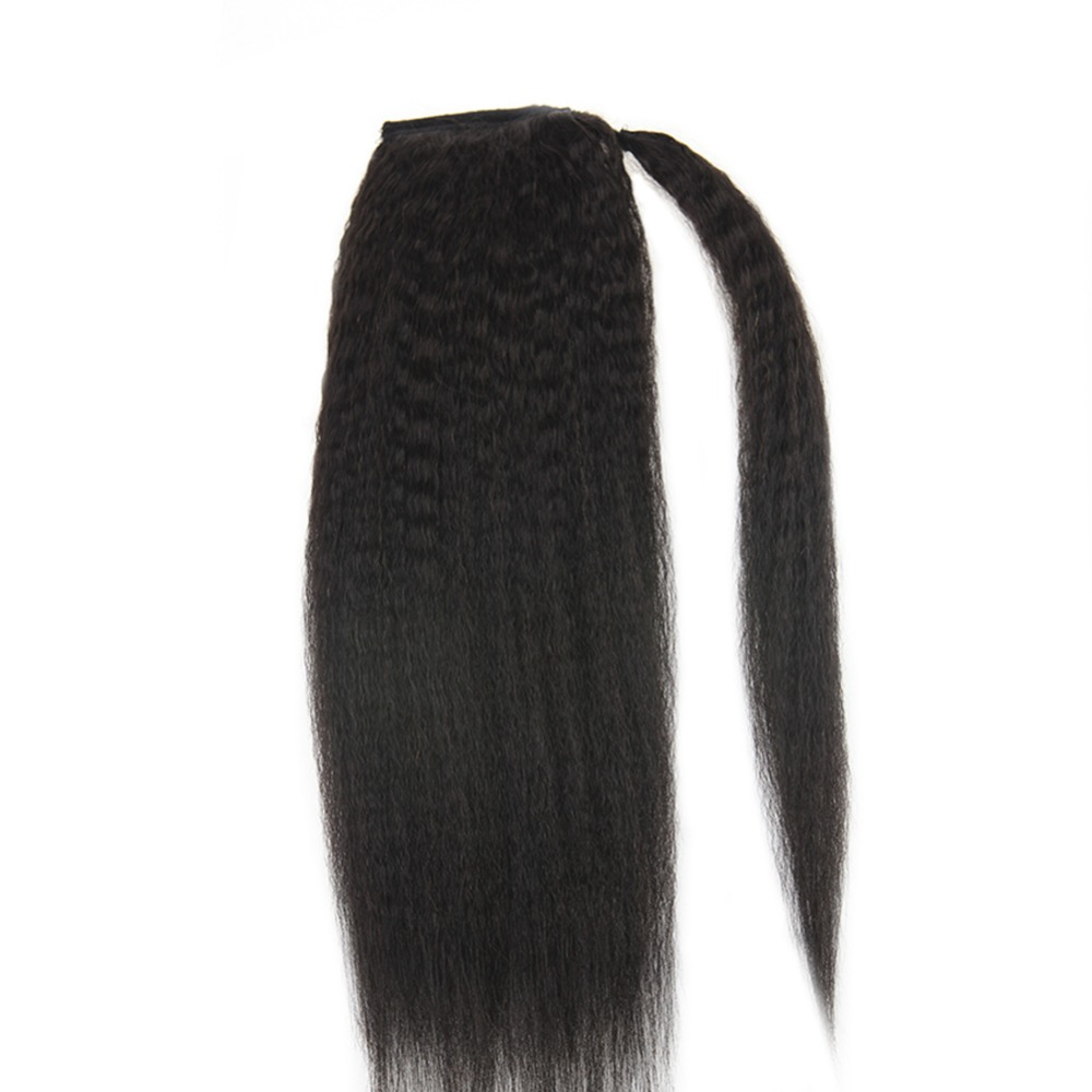 Full Shine Clip in Ponytail Hair Extensions For Afro Women 100g Natural Black Color 1B 100
