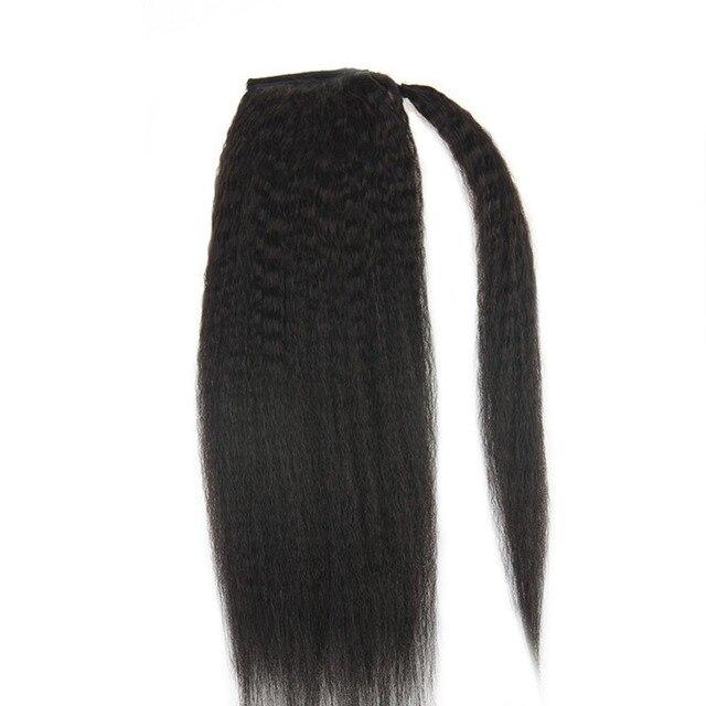 Brillo total Clip en extensiones de cabello de cola de caballo Afro mujer 100g Color negro Natural # 1B humano Remy 100% extensiones de Cabello cola de caballo