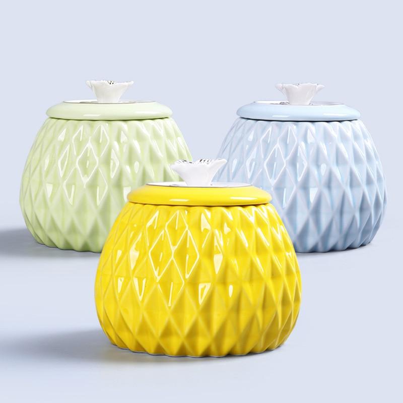 Boîte de rangement en céramique thé joint Pot avec couvercle Kithenware ananas forme sucrier vaisselle ensemble assaisonnement boîte Pudding conteneur