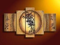handbemalte 5 stück moderne abstrakte chinesische bambus Bild Ölbild auf leinwand wand kunst für heimtextilien versandkostenfrei