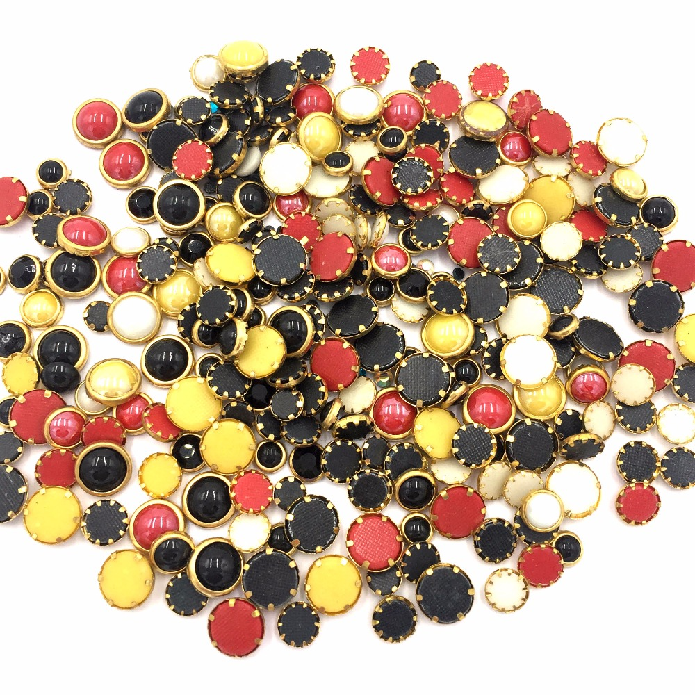 Round Mix size and colours 150pcs/bag ceramics strass nail art Hotfix crystal Rhinestones shoe cap glitter garment accessaries