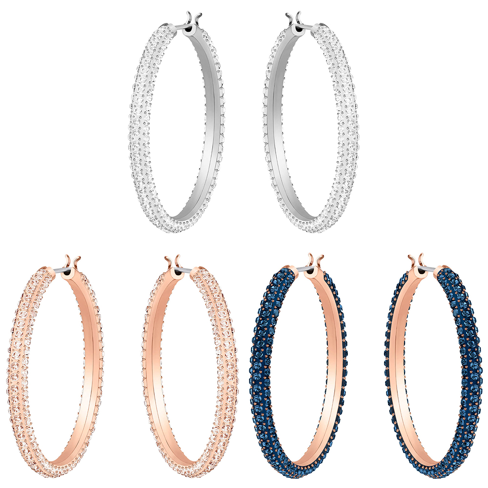 SWA RO 2019 New Big Circle Crystal Stone Hoop Pierced Earrings White Rose Gold Pink Women's Jewelry Anniversary Free Shipping