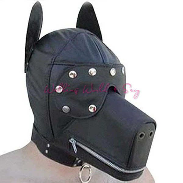Adult Game Sexy Toys Leather Dog Hood Bondage Mask Fetish Bondage Fantasy Sex Slave Role Play Erotic Toys For Couples Flitting