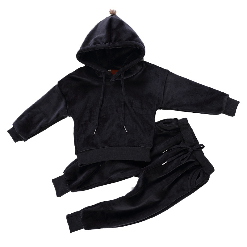 2018 New Fashion Velvet Boys Clothing Set Thicken Sport Suit For Children Girls Clothes Sets Boy School Uniform Tracksuit 2-6T
