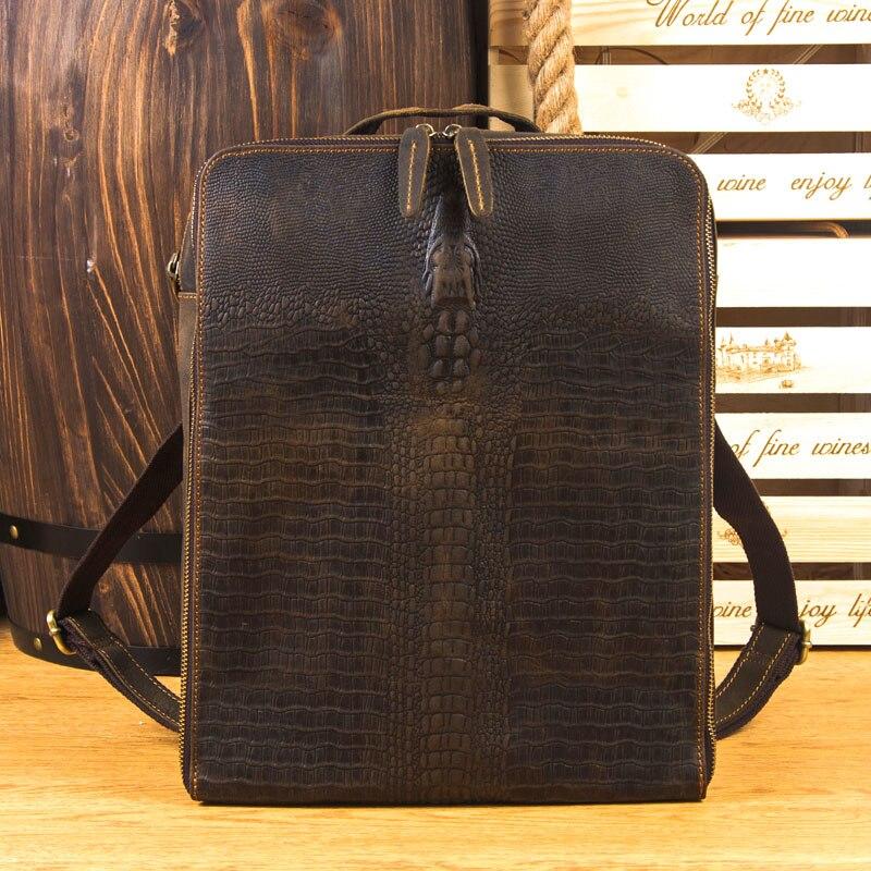 LAPOE crazy horse пояса из натуральной кожи для мужчин Аллигатор рюкзак брендовая Дизайнерская обувь воловья сумка через плечо Винтаж на молни