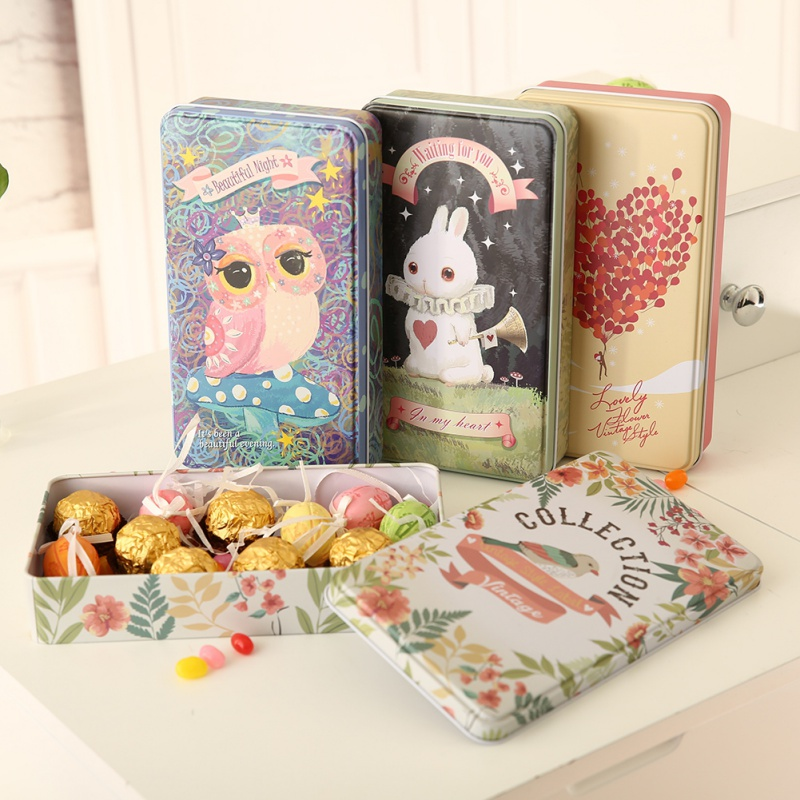 Cartoon Kids Biscuit Box/Pencil Case Candy Tin Box Organizer Storage Box Iron Office Desk Box Pills Case
