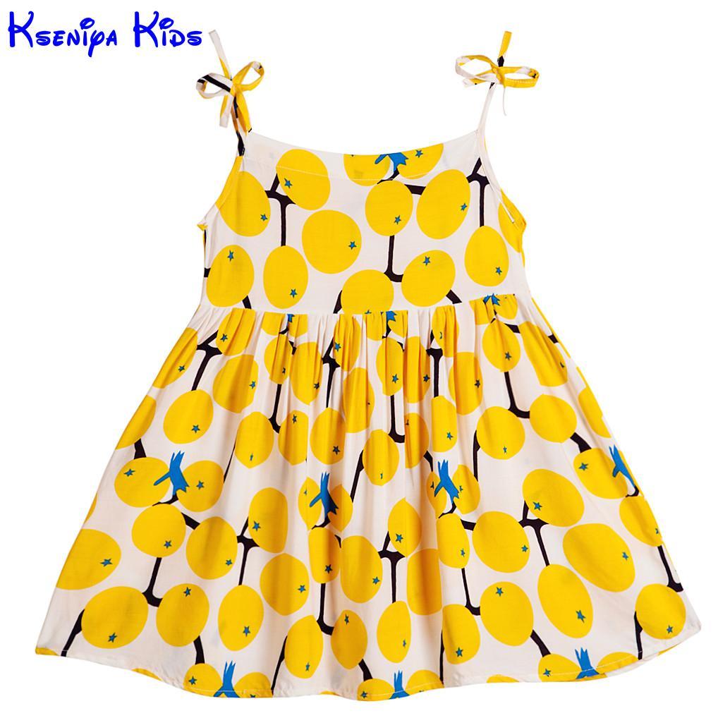 Kseniya Kids Baby Girls' Dresses Shoulder Straps Fruit Print Bow Knot Yellow Summer Beach Cute Girl Casual Dress Soft Breathable kseniya kids new summer children baby