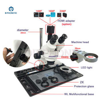 14MP 16MP 20MP HDMI Digital Camera 3.5-90X Trinocular Stereo Microscope with high temperature Aluminum Pad for Phone PCB Repair - DISCOUNT ITEM  0% OFF All Category