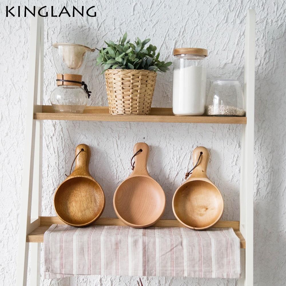 Janpanese wooden bowl with handle original wood color salad rice bowl
