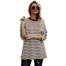 de5d41effa2 2018 otoño nueva rayas Rojo y Blanco camisetas Top mujeres manga larga  algodón camiseta mujer Casual