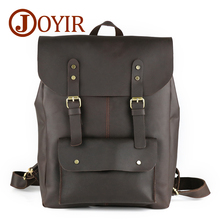 купить JOYIR 2019 Crazy Horse Cowhide Genuine Leather Men Backpack Vintage Large Volume Casual Travel School Male Laptop Bags Rucksack дешево