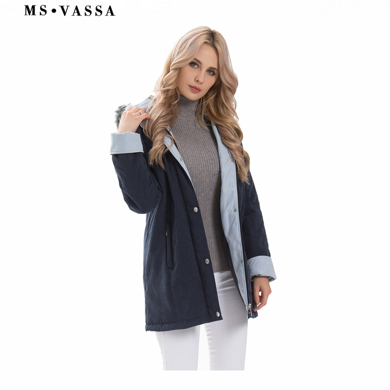 MS VASSA Women Parkas New Ladies Winter thick Jackets hood with fake fur classic contrast moss