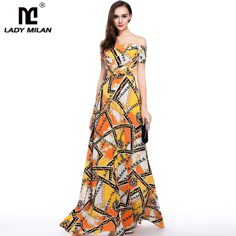 New Arrival 2018 Women s Sexy Off the Shoulder Floral Printed Ruched Bodice A Line Long