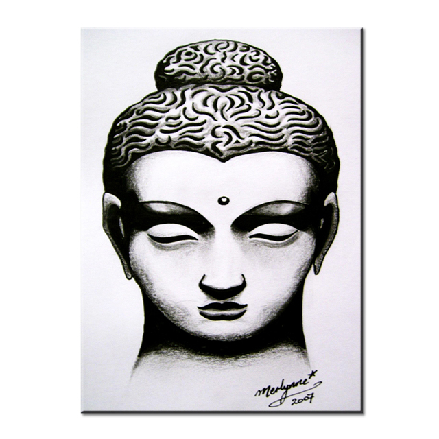 buddha head for white and black Wall painting print on canvas for ...