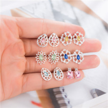 6 Pairs/Set Multicolored Flower Crystal Stud Earring Set Bohemian Hollowed Geometric Brincos For Women Statement jewelry