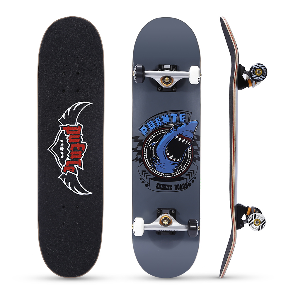 PUENTE 608 Skate board ABEC - 9 Adult Four-wheel Double Snubby Maple Skateboard With 7-layer Deck and Anti-slip Skateboard Wheel