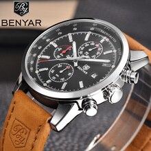 Benyar relógios masculinos de luxo, cronógrafo esportivo militar de couro, relógio de pulso de quartzo 5102