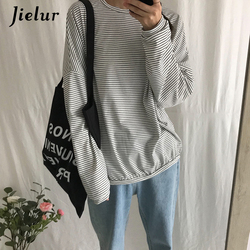 Jielur Korean Fashion Comfortable Stripe T Shirt Female Brief Slim Hipster Long Sleeve Tshirt Women Black White Autumn Top Femme 3