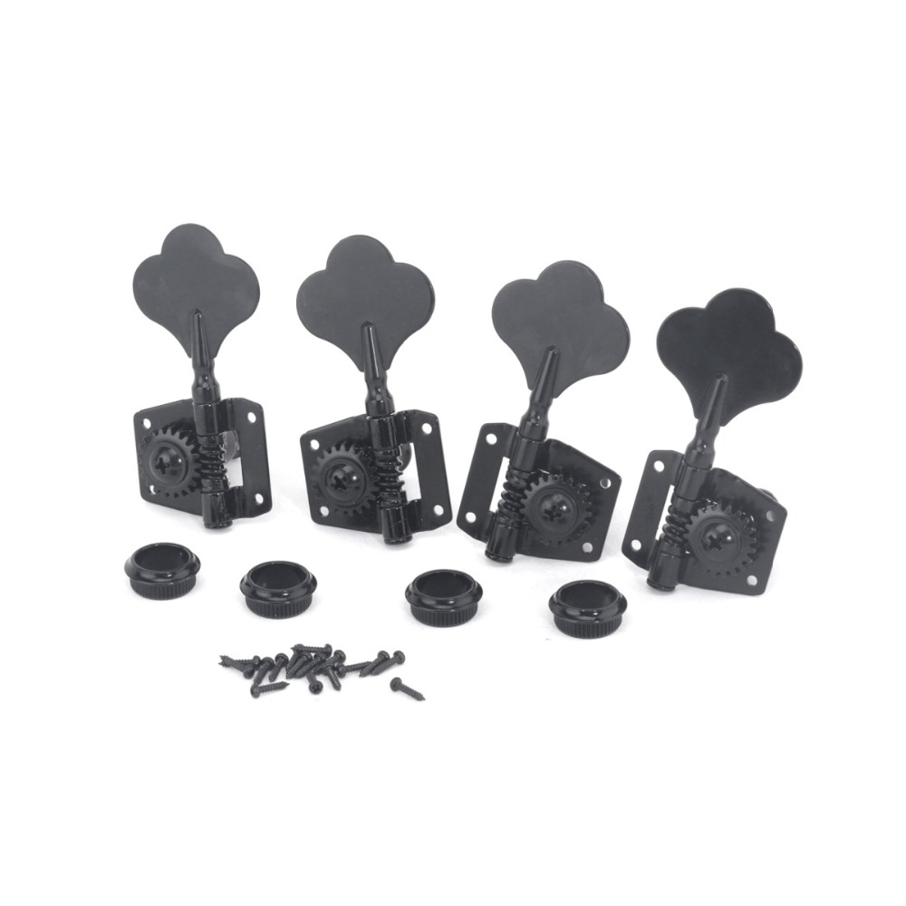 Black 4 for Right Guyker 4Pcs Bass Machine Heads Open Tuning Key Pegs Tuners Replacement for Electric Jazz Bass or Precision Instruments
