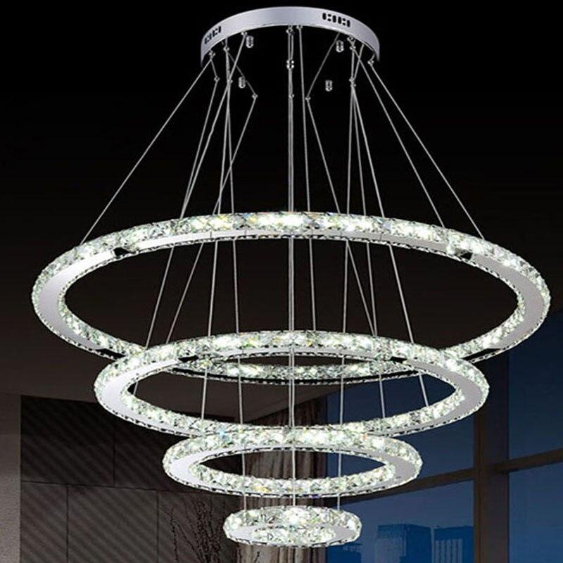 Luxury <font><b>Diamond</b></font> Crystal Ring LED Chandelier Crystal Lamp Modern Crystal Light Fixture Circle Hanging Lustres LED Home Lighting