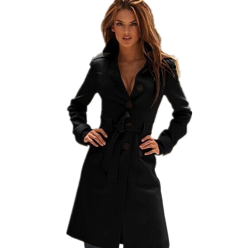 Fashion Trench Coat European Style Mujer Autumn Winter Casaco Ladies Sobretudo Feminino Long Overcoat Casual Women Clothes trench coat