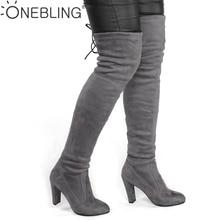 Fashion Over de Knie Boot Vrouwen Faux Suède Dij Hoge Laarzen Stretch Flock Sexy Overknee Hoge Hakken Vrouw Schoenen Zwart rood Grijs