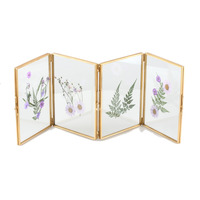 Gold Glass Certificate Photo Picture Display Folding Screen Type Frame Ornament Plant Specimen Clip Modern Decor Card Holder