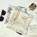 Luna & Dolphin Moda bandana Lujo Scarve Mujeres de Seda de la Marca Bufanda Mujeres Chal 85X180 CM Alta Calidad Encantadora Cat Imprimir hijab