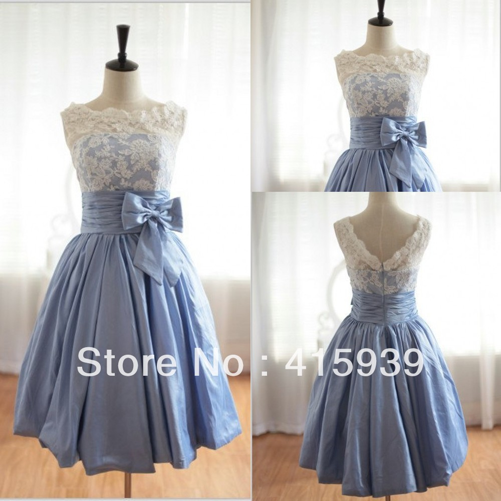 Actual photo A line Short Sleeveless V Back Boat Neck Taffeta and Lace Bridesmaid Dress BN024in