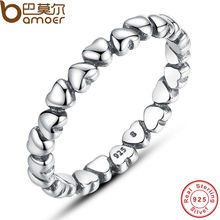 BAMOER Authentic 925 100% Solid Sterling Silver Forever Love Heart Finger Ring Original Jewelry Valentine's Day Gift PA7108