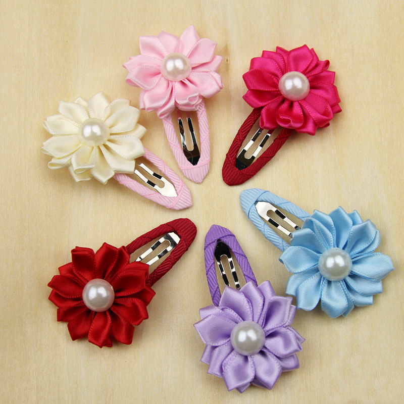 Fashion Sunflower Style Children Girls Hair Clips Solid Satin Flower Hairgrip Accessories Kids Pearl Hair Ornaments HW015