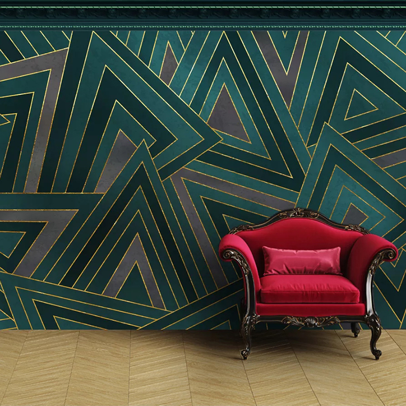 Custom Self-adhesive Mural Wallpaper European Style Gold Lines Geometric Pattern Living Room Sofa TV Background Photo Wall Paper