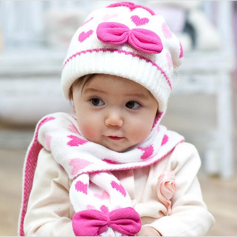 UNIKEVOW (Hat&scarf 1set) New  Autumn Winter Baby Girl Heart Knitted Hat Scarf Set