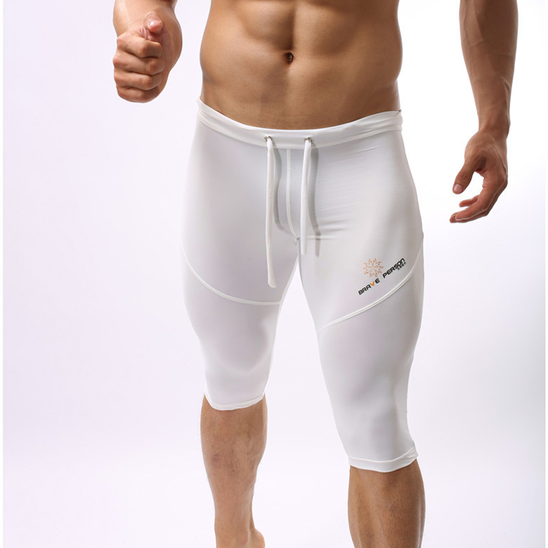 BRAVE PERSON Summer Style Breathable Mesh Men Tight Casual Shorts Bodybuilding Splid Mesh Shorts Sexy Transparent Fitness Shorts